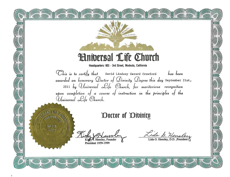 Doctor of Divinity (Honorary)