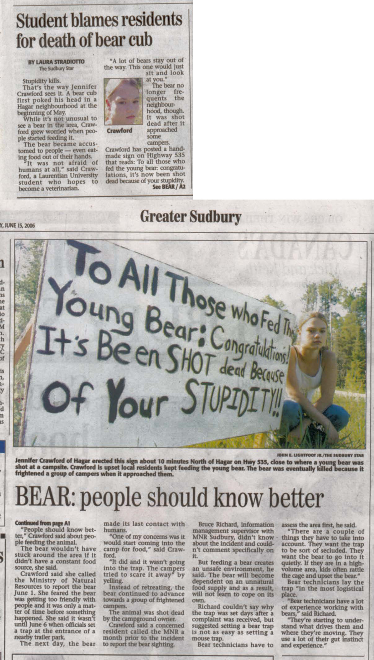 Bear Article, Sudbury Star