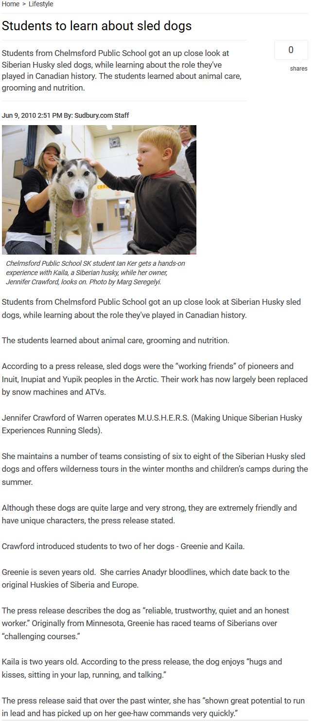 Students to learn about sled dogs, Sudbury.com